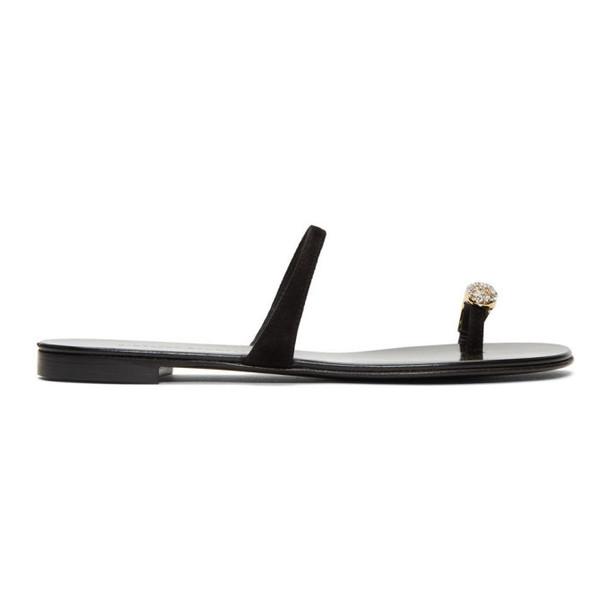 Giuseppe Zanotti Black Patent Ring Sandals