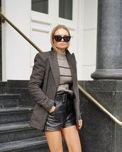shorts,black shorts,leather,blazer,turtleneck sweater