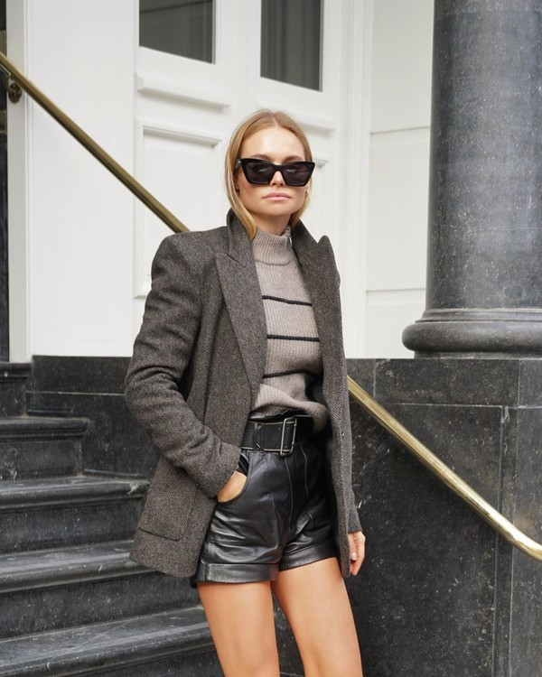 shorts black shorts leather blazer turtleneck sweater