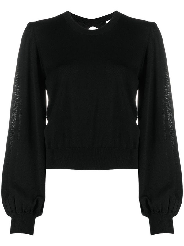 P.A.R.O.S.H. Rapsody open-back knitted top in black
