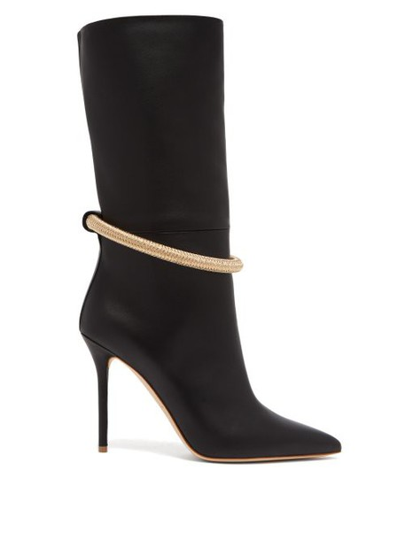 Malone Souliers - Sofia Braided Anklet Leather Boots - Womens - Black