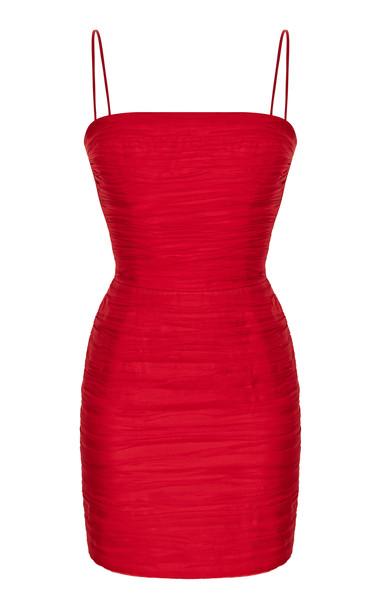 Rasario Silk-Chiffon Mini Dress Size: 34 in red