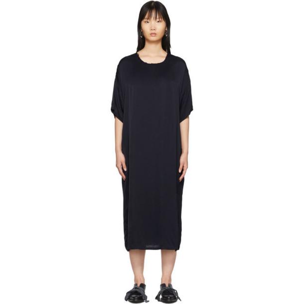 Raquel Allegra Navy Satin T-Shirt Dress