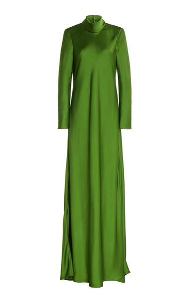 Maison Rabih Kayrouz Satin Turtleneck Gown Size: 46 in green