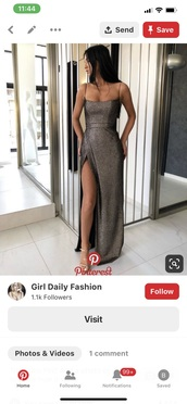 dress,sparkle,prom,maxi,slit,grey,spaghetti strap