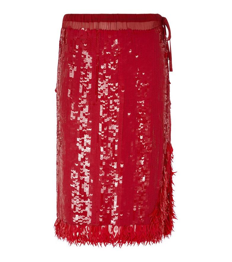 Dries Van Noten Sequined midi skirt in red