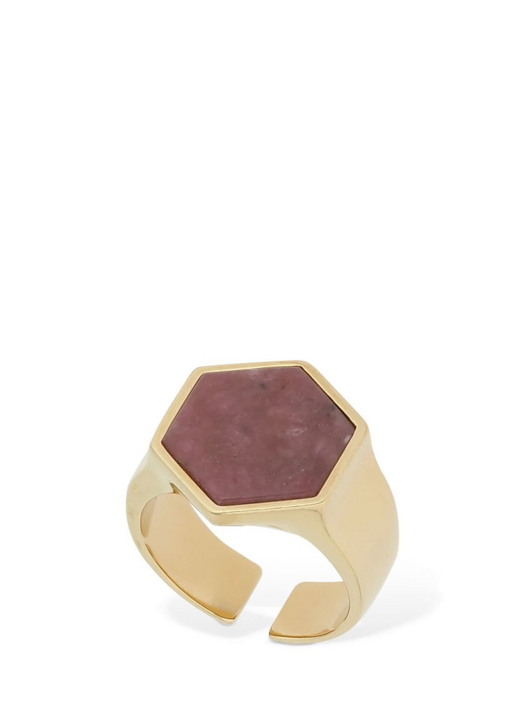 ISABEL MARANT Golden Mother Hexagonal Ring W/ Stone in gold / pink