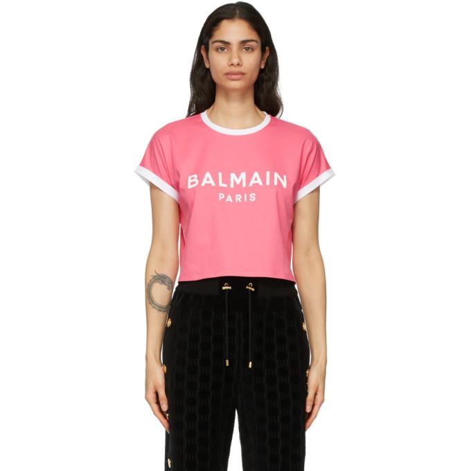 Balmain Pink and White Cropped Flocked Logo T-Shirt in rose