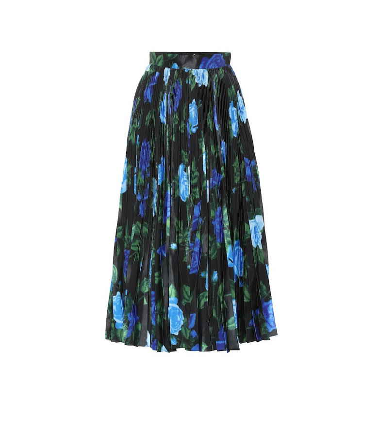 Richard Quinn Floral high-rise satin midi skirt in black