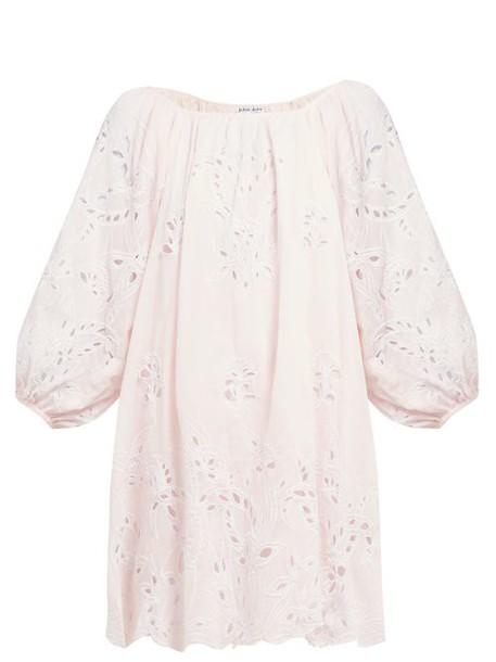 Juliet Dunn - Floral Broderie Anglaise Cotton Mini Dress - Womens - Pink