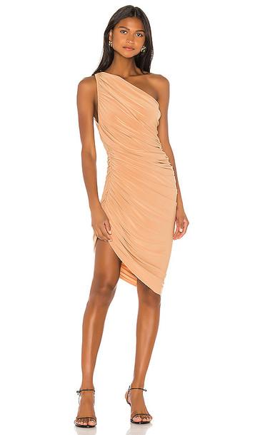 Norma Kamali Diana Mini Dress in Tan