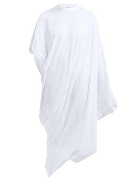 Vetements - Asymmetric Cotton Jersey T Shirt Dress - Womens - White