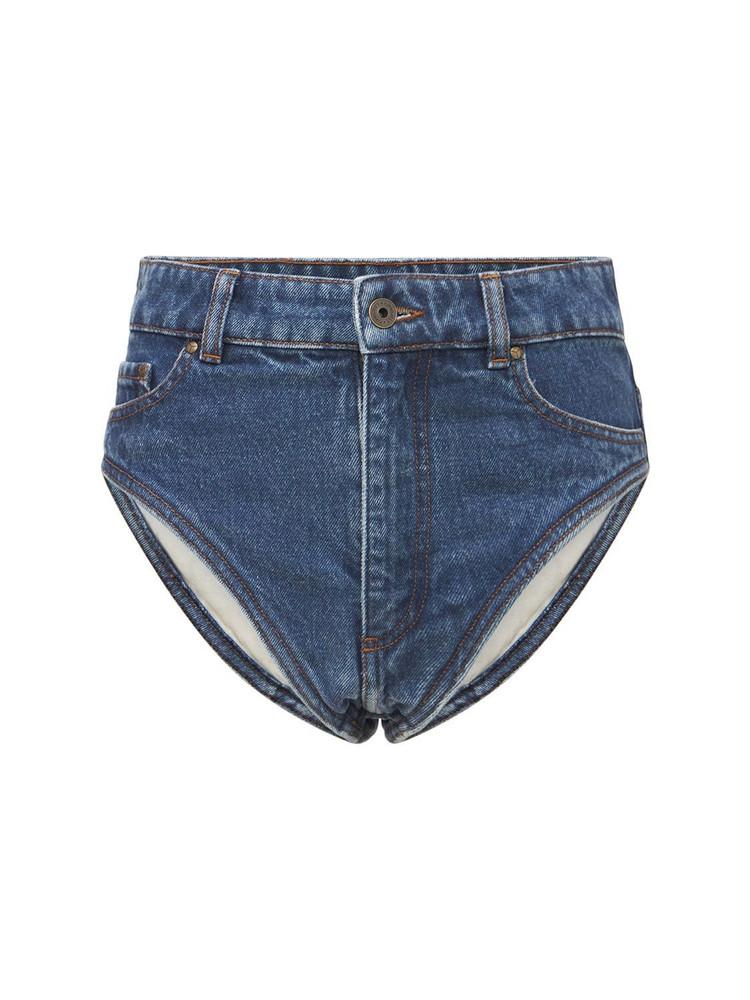 Y PROJECT Organic Cotton Denim Hi-cut Shorts in blue