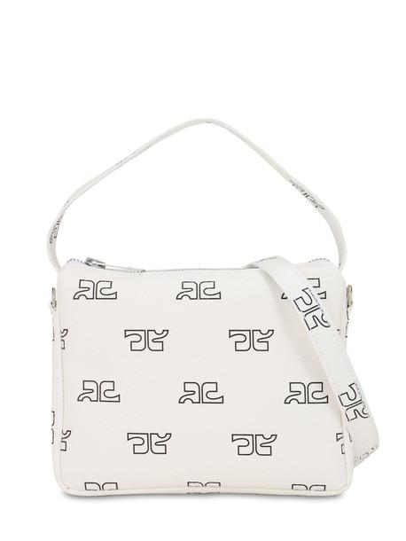 COURREGES Monogram Print Techno Shoulder Bag in white