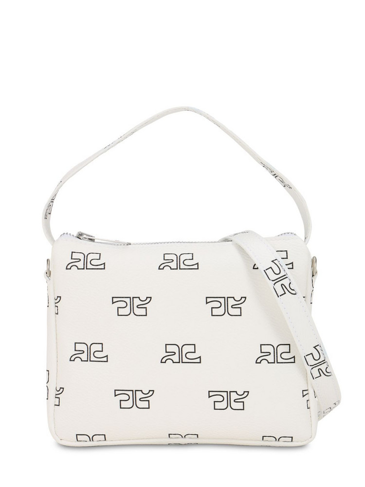 COURREGES Monogram Print Techno Shoulder Bag in white