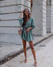 romper,long sleeves,zara,white sandals,bag