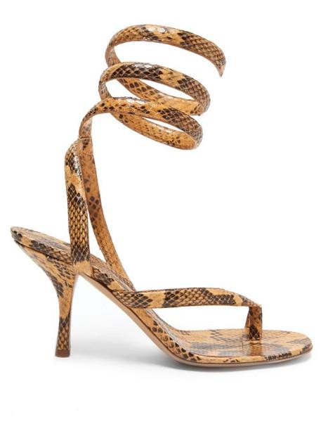 Bottega Veneta - Wrap-around Snake-effect Leather Sandals - Womens - Light Tan