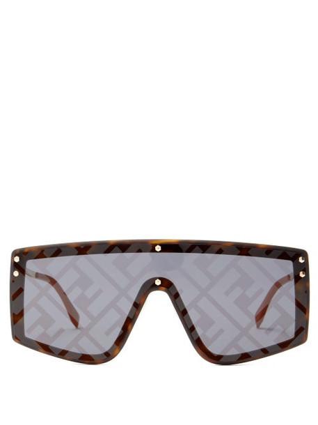 Fendi - Ff-print Flat-top Metal Sunglasses - Womens - Tortoiseshell