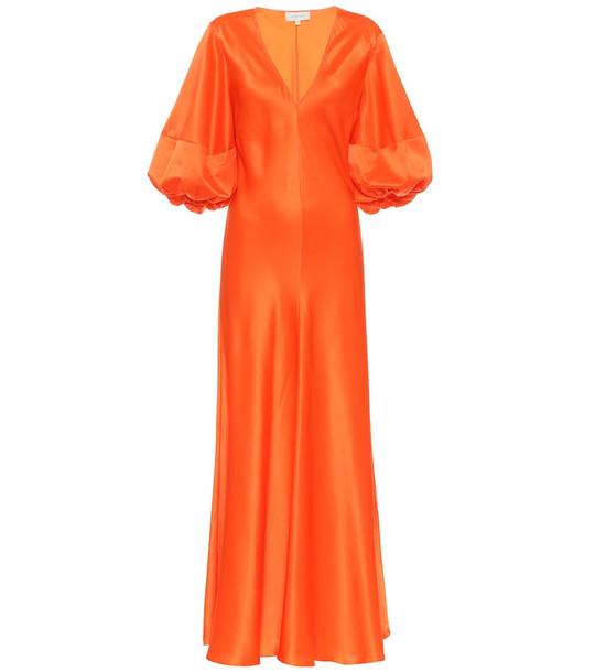 Lee Mathews Exclusive to Mytheresa – Silk-satin midi dress in orange