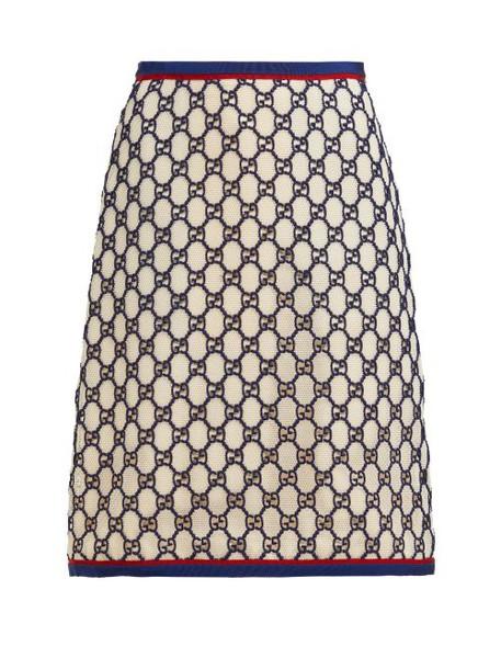 Gucci - Gg Cotton Blend Macramé Skirt - Womens - White Multi