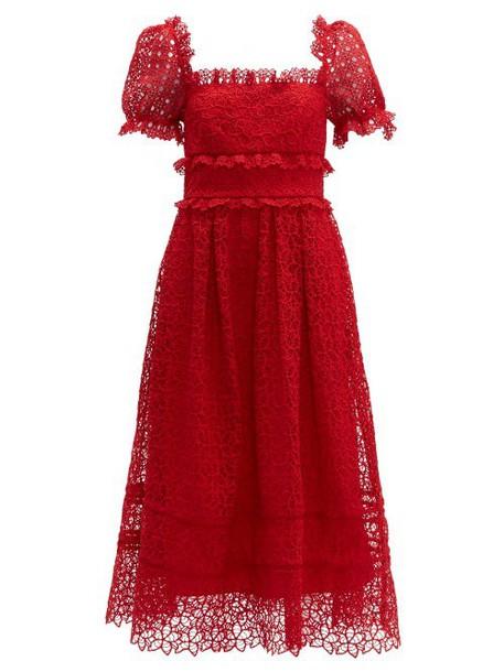 Self-portrait - Hibiscus Flower Guipure Lace Midi Dress - Womens - Red