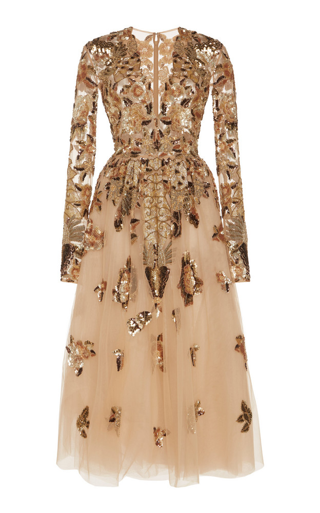 Zuhair Murad Ikebana Embroidered Tulle Midi Dress in gold