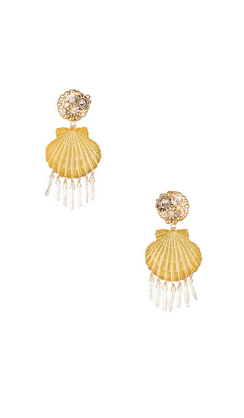 Mercedes Salazar Small Shell Pearl Earrings in Metallic Gold