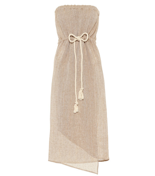 Lisa Marie Fernandez Victor strapless midi dress in beige