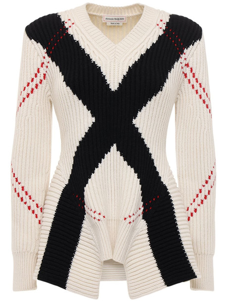 ALEXANDER MCQUEEN Intarsia Wool & Cashmere Knit Sweater in black / red / white