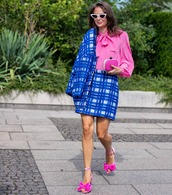 top,pink shirt,skirt,plaid skirt,mini skirt,jacket,streetstyle