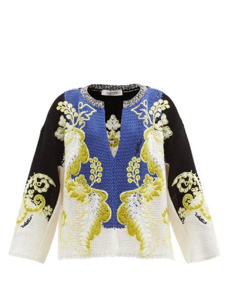 Valentino - Arazzo-knitted Cotton Sweater - Womens - Multi
