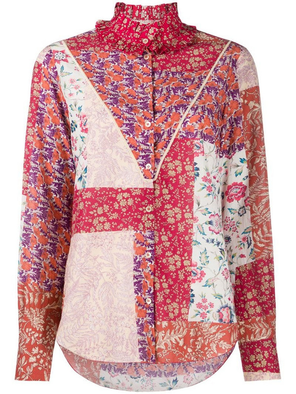 Forte Forte floral-print long-sleeve blouse in red