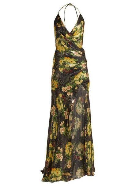 Adriana Iglesias - Scarface Floral Print Silk Blend Dress - Womens - Black Yellow