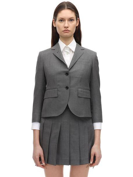 THOM BROWNE Cropped Wool Twill Jacket in grey