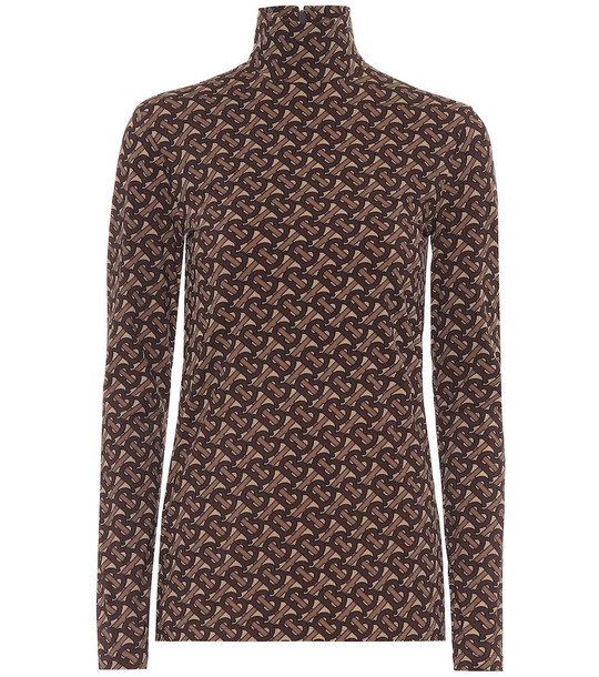 Burberry Monogram stretch-jersey top in brown