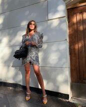 dress,mini dress,long sleeve dress,isabel marant,mules,black bag