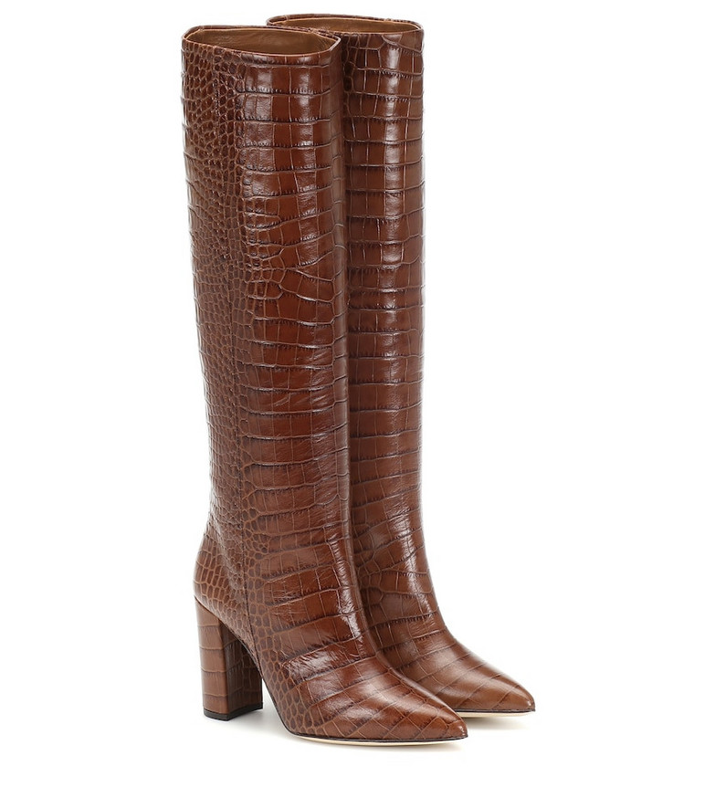 Paris Texas Croc-effect leather boots in brown