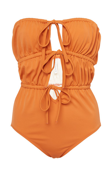 Solid & Striped Paula Strapless Tie-Front Swimsuit in brown