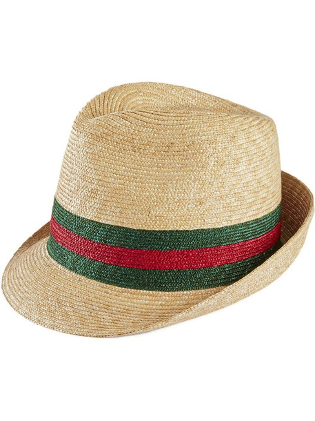 Gucci woven straw fedora hat in white