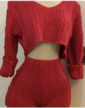 pajamas,knitwear,two-piece,shorts,knit,red,High waisted shorts,long sleeves