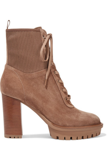Gianvito Rossi - Martis 90 Lace-up Leather-trimmed Suede Ankle Boots - Camel