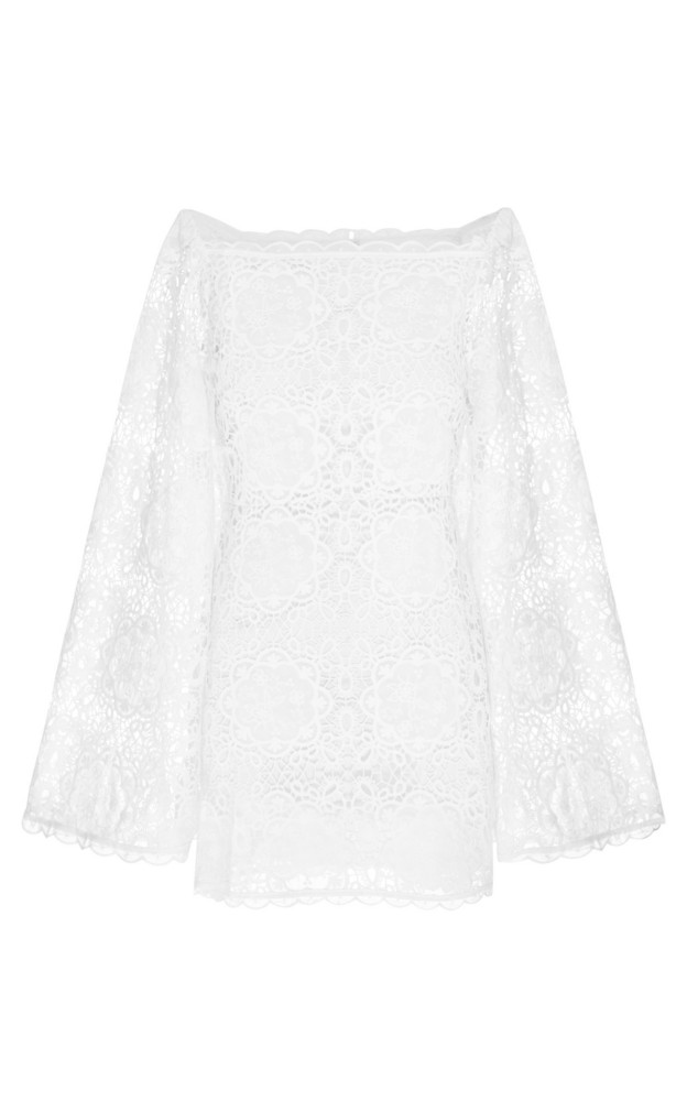 Alice McCall Diamond Veins Corded Lace Mini Dress Size: 6 in white