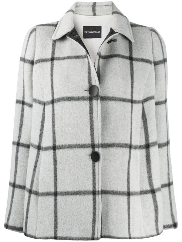 Emporio Armani buttoned up check pattern jacket in grey