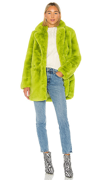 Apparis Sophie Faux Fur Coat in Green