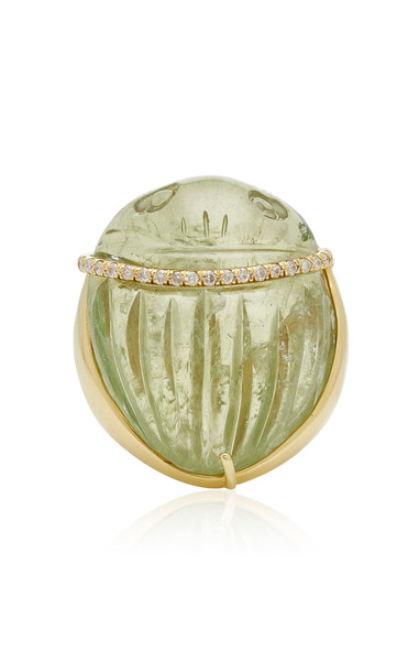 Kimberly McDonald One of a Kind Green Beryl Scarab Dome Ring Size: 9 in gold