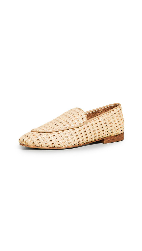 KAANAS Amalfi Basket Weave Loafers in natural