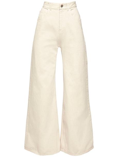 THE ATTICO High Waist Cotton Denim Palazzo Pants in cream