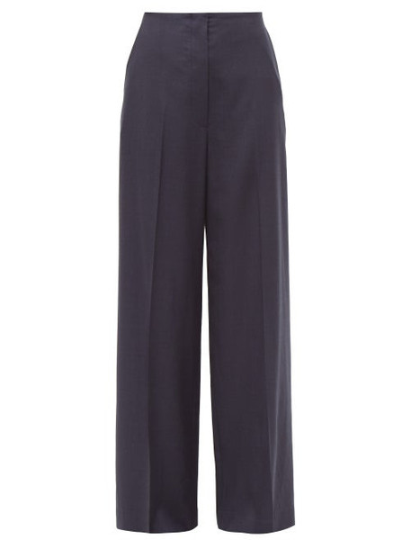 The Row - Lianno High Rise Wide Leg Wool Trousers - Womens - Navy