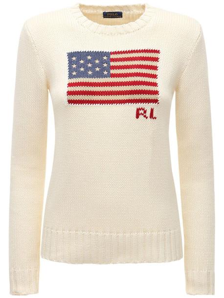 POLO RALPH LAUREN American Flag Intarsia Cotton Sweater in white / multi
