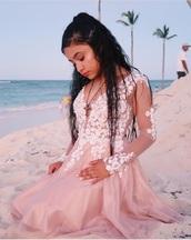 dress,pink dress,white,long sleeve dress,pink